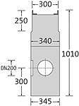BIRCOsir – kleine Nennweiten Nominal width 200 AS Outfall units In-line outfall unit with anchoring system 2piece