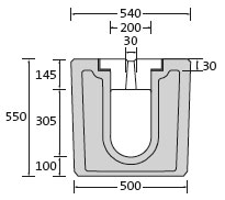 BIRCOsolid slot channel Profile 200/300 Channels Slot channel element | without internal inbuilt fall | Class F 900