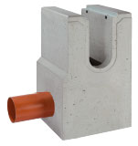 BIRCOsolid slot channel Profile 200/300 Outfall units In-line outfall unit for slot channel | with pipe support | 1-piece