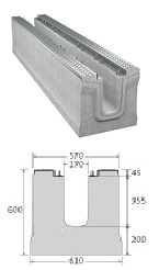 BIRCOmassiv Nominal width 150 Channels Channel elements I without internal inbuilt fall I with 1-piece hot-dipped galvanised surface protection
