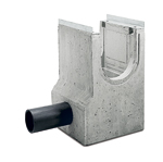 BIRCOprotect Nominal width 300 Outfall units In-line outfall unit with PEHD pipe-support with hot-dipped galvanised solid steel angle for combi-closure system