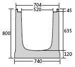 BIRCOmax-i Nominal width 520 Channels Channel elements I without internal inbuilt fall I with ductile iron angles